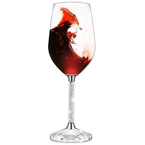 IFOLAINA Red Wine Glasses Single Lead Free 15 Ounce Stemware with Long Crystal Diamond Stem -Valentine's Day, Christmas, Birthday, Anniversary or Wedding Gifts (Single Wine Glass)