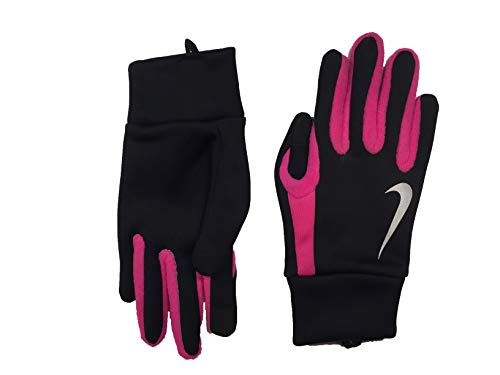 Nike Womens Tech Thermal Running Gloves (Black(NRGJ6053)/Pink, Small)