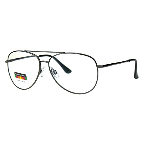Multi Focus Progressive Reading Glasses 3 Powers in 1 Aviator Gunmetal - With Power Sunglasses Aviator