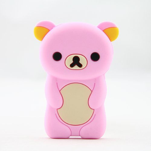 Phaetonnice 3D Cute Bear Silicone Skin Case Cover for Apple iPod Nano 7th Generation 7G - Pink