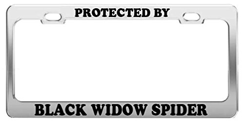 Protected by Black Widow Spider License Plate Frame Tag Car Truck Accessories (Spider License Plate Frame)