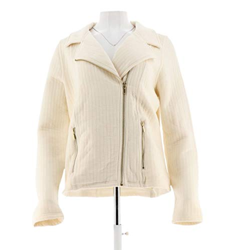 Isaac Mizrahi Quilted Knit Motorcycle Zip Jacket Pockets Cream XL New A272238 from Isaac Mizrahi Live!