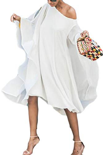Shoulder Shawl White Womens Sleeve Cold Dress Chiffon Jaycargogo Batwing O6qnZFnx
