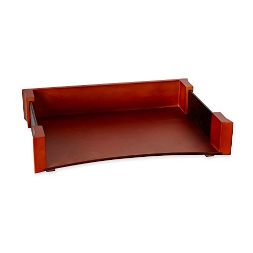 Rolodex Wood and Faux Leather Letter Tray, Letter-Size, Mahogany and Black (81759) - Mahogany Wood Tray