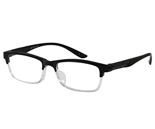 Ebe Mens Glasses Half Rim Shield Shape Prescription Optional TR Flex Material - Half Rim Spectacles