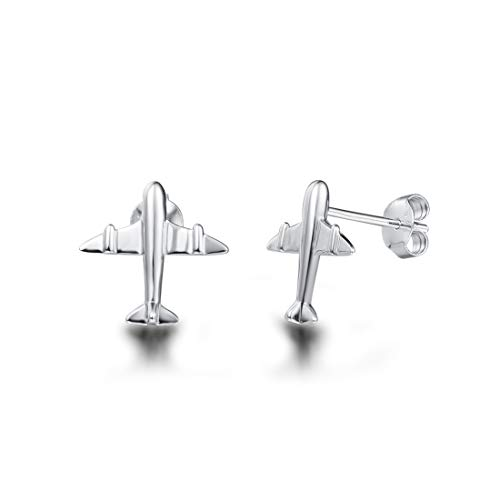Carleen White Gold Plated Real Sterling Silver Airplane Stud Earrings For Women Girls ()