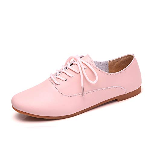 2019 Spring Women Oxford Shoes Ballerina Flats Shoes Women Genuine Leather Shoes Moccasins lace up Loafers White Shoes 051,051 Pink,9
