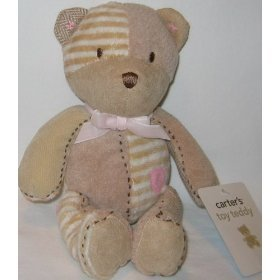 Carter's Toy Teddy Bear Plush Lovey with Pink Ribbon and Pink Heart