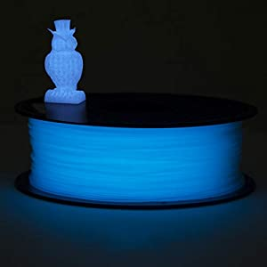 ECHEN 3D Printer Filament, Glow in The Dark Blue PLA Filament 1.75mm +/- 0.03 mm, 1KG Spool, Includes Sample Temp Color Change from Dark Grey to Orange to Yellow Filament. from ECHEN