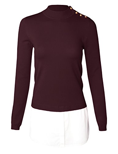 Double Knit A-line - MAYSIX APPAREL Long Sleeve Shirt Double Layered Knit Pullover Mock Neck Sweater For Women BURGUNDY M