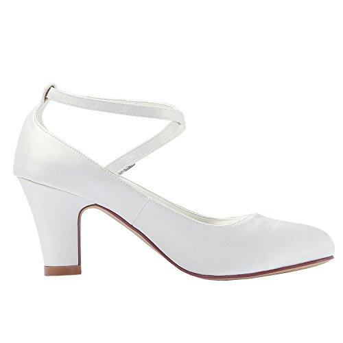 Bloc Mariée Ivoire De Satin Mariage Chaussures Cheville Escarpins Fermé Femme Boucle Elegantpark Traverser Hc1808 Talon Haut Bout La qz7gTwZ