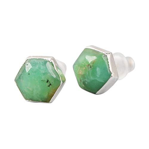 ZENGORI 925 Sterling Silver Hexagon Natural Australia Jade Stud Earrings for Women SS050 (Australia To Christmas Post For)