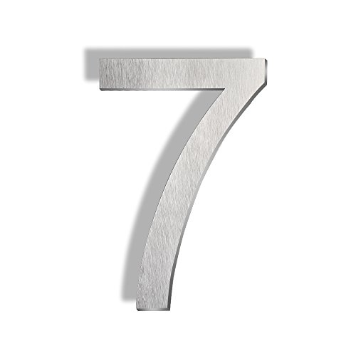 Mellewell Floating Mount House Numbers 5 inch, Stainless Steel Brushed Nickel, Number 7 ()