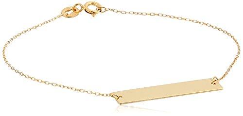 14k Yellow Gold Italian Bracelet (14k Yellow Gold Italian Bar Identification Bracelet, 7.5