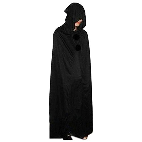 SpringPear Black Devil Cape Hooded Cape Long Costume Cloak Fairing for Halloween Theater Carnival