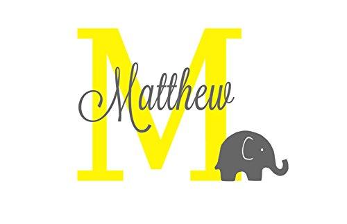 Elephant Name Initial Decal, Monogram Nursery Decor, Gray Yellow Elephant, Elephant Baby Boy Room, Nursery Room Mural, Elephant Baby Shower