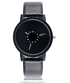 Unisex Leather band Fashion Casual Wrist Watch Black (Mens Watches Fossil Cheap)