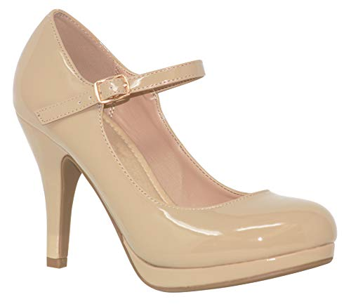 MVE Shoes Women's Sparkly Comfortable Closed Toe Single Strap High Heels, Dennis BGE PAT 7.5 ()