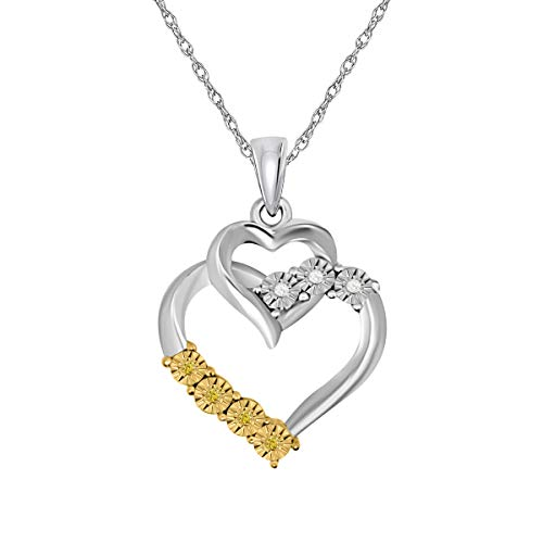 - Brights Colection Prime Deals Diamond Double Heart Brights Collection Two Tone Pendant With 18