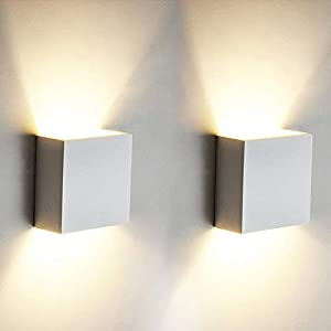 OOWOLF 2 Pcs LED Wall Lights Indoor 6W Modern Aluminum Modern Wall Wash Light for Living Room Bedroom Hallway, Warm White
