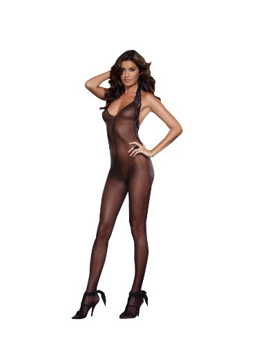 Dreamgirl Women's Ferrara Halter Bodystocking, Black, One (Black Womens Bodystocking)