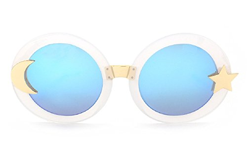 Women's JTSF813 Glitter Acetate Star Moon Embellishment Round Sunglasses (C3-white+blue, (Glitter Womens Sunglasses)