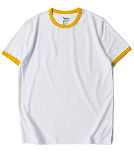 Zengjo Ringer Tee Men's Crew Neck Athletic T Shirts Short Sleeve Tops for Men (M, White/Yellow) (Together Yellow T-shirts)
