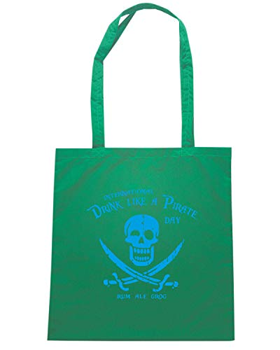 Speed Shirt Borsa Shopper Verde FUN1267 DRINKPIRATETIL FITTED