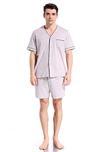 (Like2sea Cotton Knit Pajamas for Men, Short V-Neck Button Down PJ Set, Gray, L)