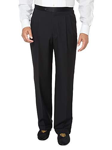 Paul Fredrick Men's Super 100s Tuxedo Pant Black 40