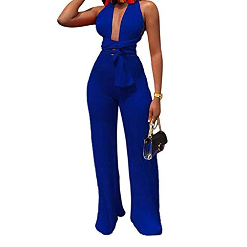 Cenglings Women Sexy Halter Deep V Neck Sleeveless Solid Lace-up Wide Leg Pants Tie Back Backless Jumpsuits Party Rompers Blue ()