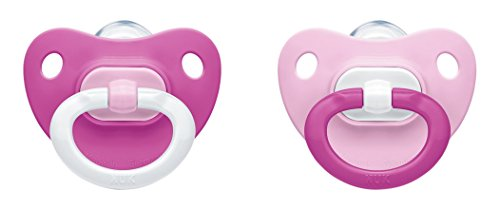 (NUK Silicone Fashion Soother Size 2 (6 - 18 Months) - Pink (Pack of 2) )