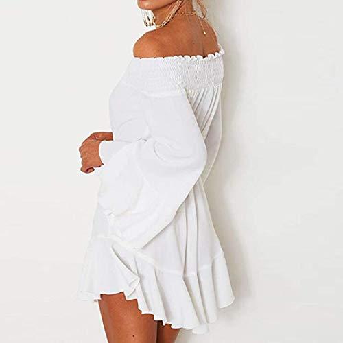 Chic Automne Blanc de Dentelle pour amp; Femme Manche Collier Mot Un Fillette Robe Longue Hiver Angelof Guipure qA4YFx