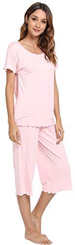 LazyCozy Women's Short Sleeve Capri Pants Pajamas Set, Pink, ()