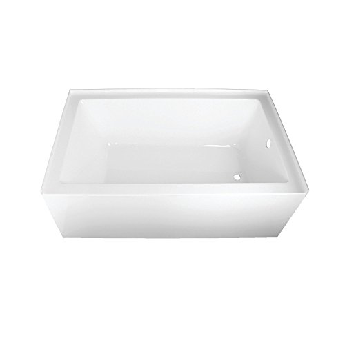 Kingston Brass VTAP603622R Aqua Eden 60-Inch Acrylic Alcove Tub with Right Hand Drain Hole 60 inch (L) x 36 inch (W) x 21-5/8 (D), White