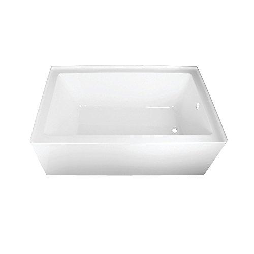 (Kingston Brass VTAP603622R Aqua Eden 60-Inch Acrylic Alcove Tub with Right Hand Drain Hole 60 inch (L) x 36 inch (W) x 21-5/8 (D),)