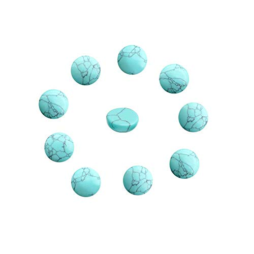 12mm Cabochons Stones for Earrings Making Imitation Blue Turquoise Back Flat Dome Cabochon Sold by 16 Pcs (No Hole)