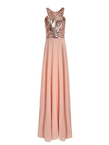 Beauty Kai Women's Long Formal Sequin Chiffon Evening Prom Dress (Small, Rose Gold/Blush)