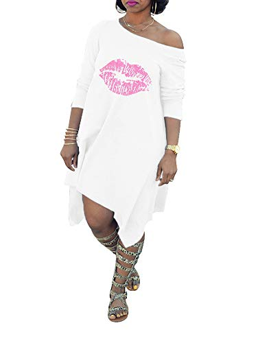 Club White T-shirt (Remelon Womens Casual Long Sleeve Off One Shoulder Lip Print Loose Tunic Asymmetrical T-Shirt Mini Dress White XXXL)