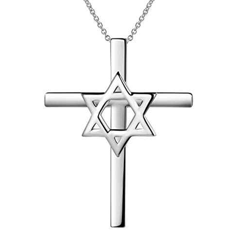 Star David Cross Necklace - Besilver Star of David Cross Pendant Necklace Charm 925 Sterling Silver Jewish Religious Symbol Women Men Unisex Jewelry Gift for Mom Dad FP0027W