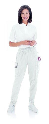 Landau Womens Classic Fit Cargo Elastic Waist Scrub Pants Xx-Large White