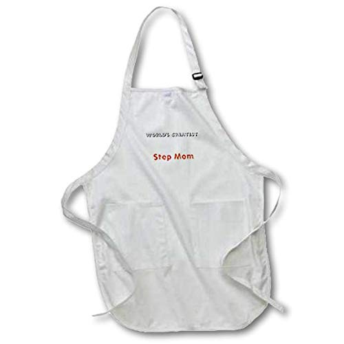 22 by 24-Inch 3dRose apr/_27928/_2 Worlds Greatest Step Mom-Medium Length Apron with Pouch Pockets