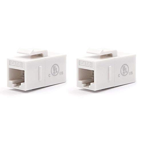 [UL Listed] VCE 2-Pack CAT6 RJ45 Keystone Jack Inline Coupler-White