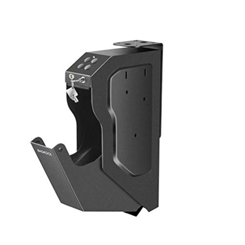 BAGKOOL Handgun Safe Box Mounted Firearm Safety Device Pistol Gun Safe Box with Digital Code & 2 Emergency Key