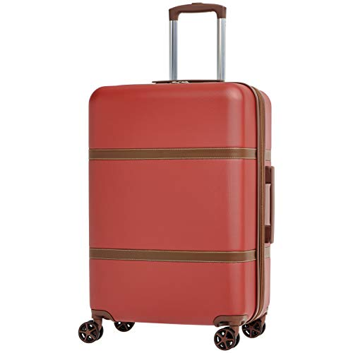 AmazonBasics Vienna Expandable Luggage Spinner Suitcase - 24 Inch, Red