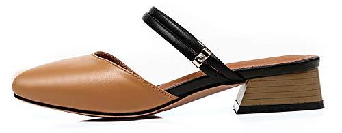 Coupe Talon Mode Brun Chunky Plage Femme de Mules Chaussures Aisun Fermée wPqZa0Xx