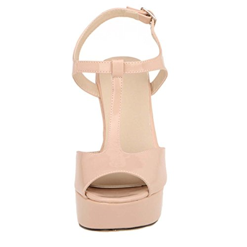 HooH Women's Peep Toe T-Strap Wedding Chunky Sdandal Nude jd7gYGMSe