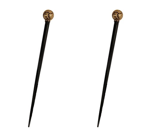(Caravan Black Lacquered Hair Stick Decorated in 1 of Many Ropes Antique Gold Bead and Spacer)