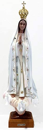 Angel s Treasure 24 Our Lady of Fatima Statue, Glass Eyes, Hand Painted, Made in Portugal, Religious Virgin Mary Figurine