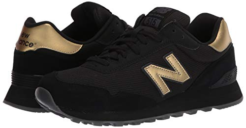 New Balance Women's 515 V1 Sneaker, Black/Phantom/Gold Metallic, 5.5 W US